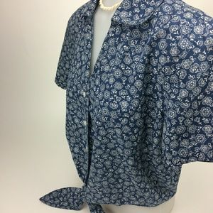 Talbots Blue Short Sleeves Blouse